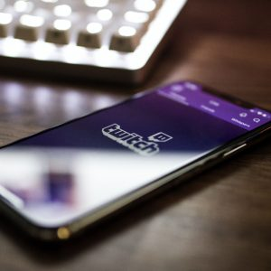 Phone with Twitch app open